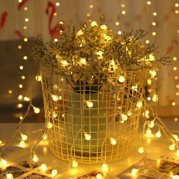 10 Bulbs Ball Shaped String Light, Yellow