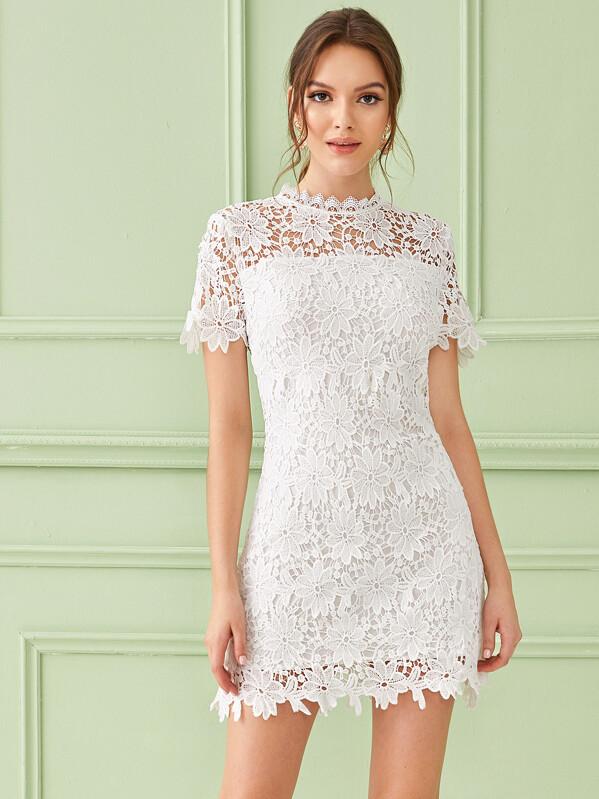 Solid Zip Back Guipure Lace Dress, White, Natalia