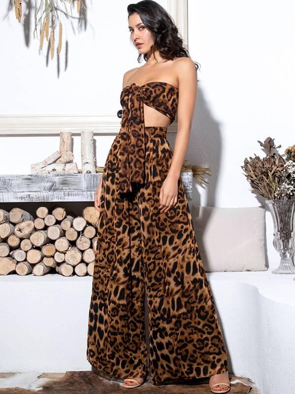 LOVE&LEMONADE широкие брюки и топ с узлом и леопардовым принтом