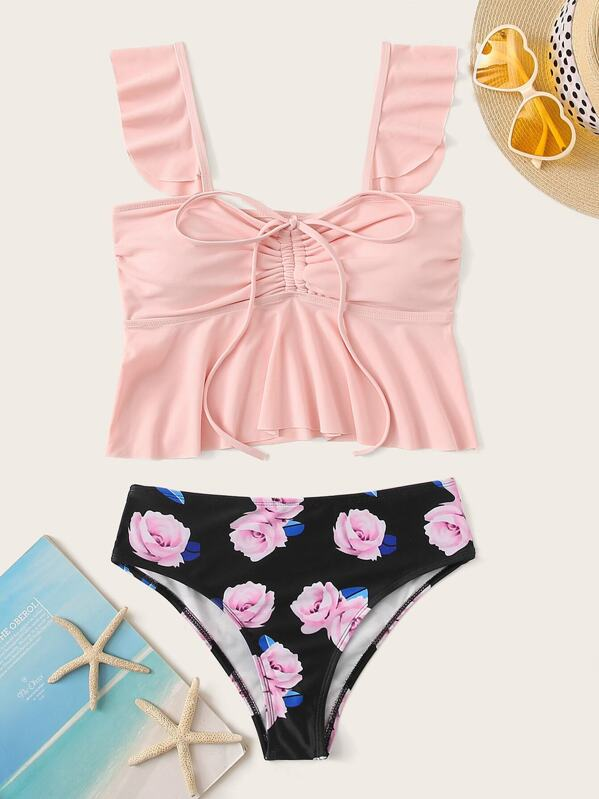 Tie Front Flounce Top With Floral Tankini Set, null