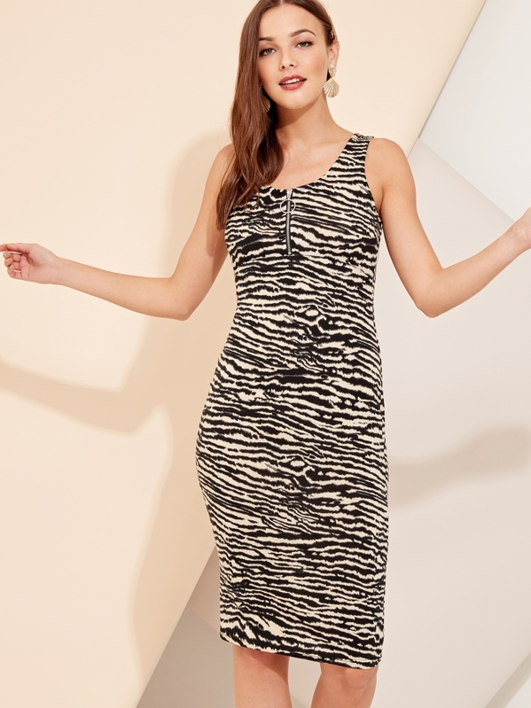 Zebra Print O-ring Zip Front Bodycon Dress, Gracea