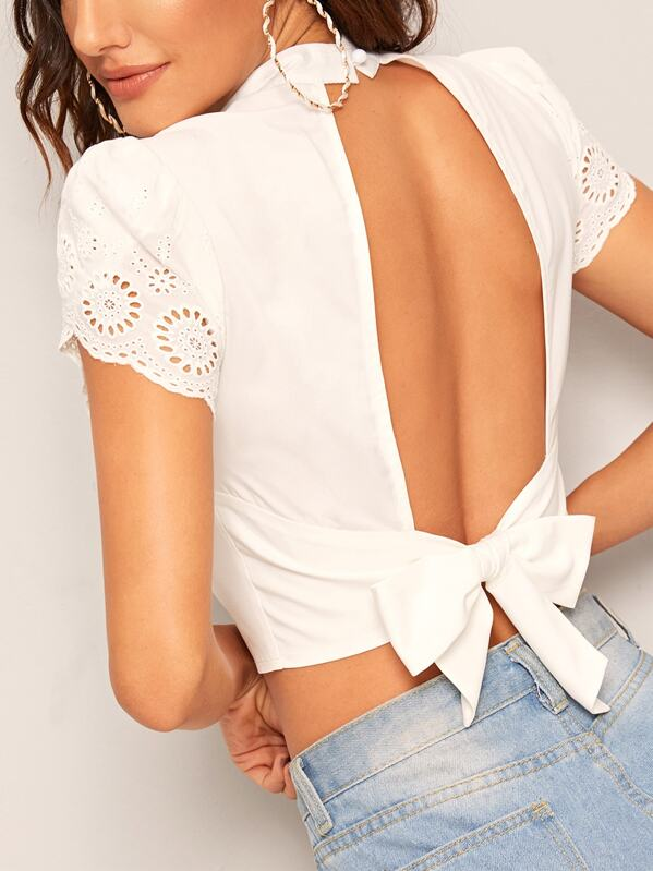 Eyelet Embroidery Tie Back Backless Crop Blouse, Juliana