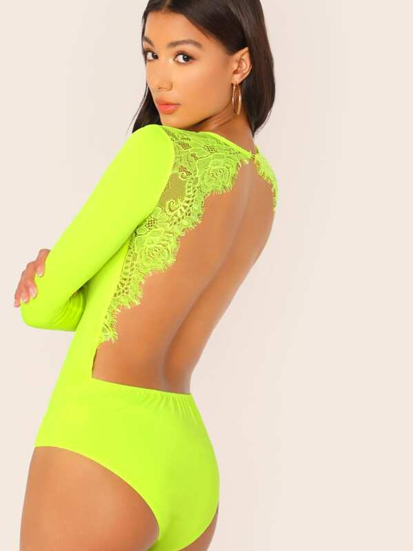 Neon Lime Lace Trim Open Back Fitted Bodysuit, Kiele Montgomery