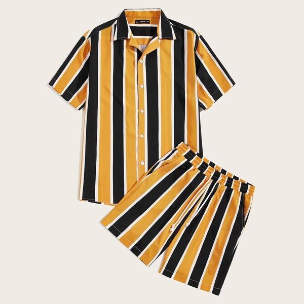 Men Colorful Striped Top and Drawstring Waist Shorts Set