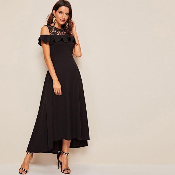 Guipure Lace Yoke Ruffle Trim Dip Hem Dress, Black