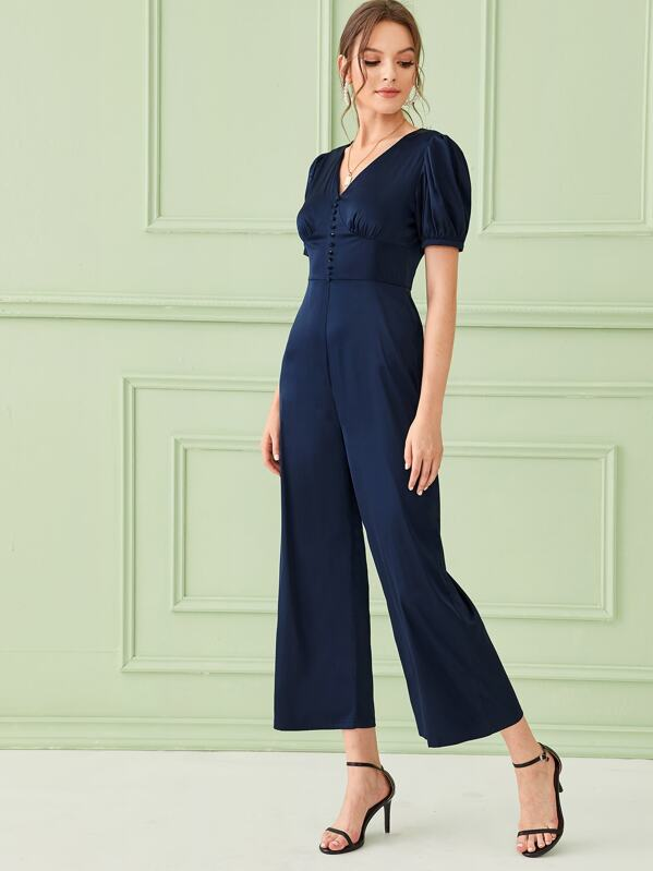 Solid Button Front Bustier Wide Leg Jumpsuit, Natalia
