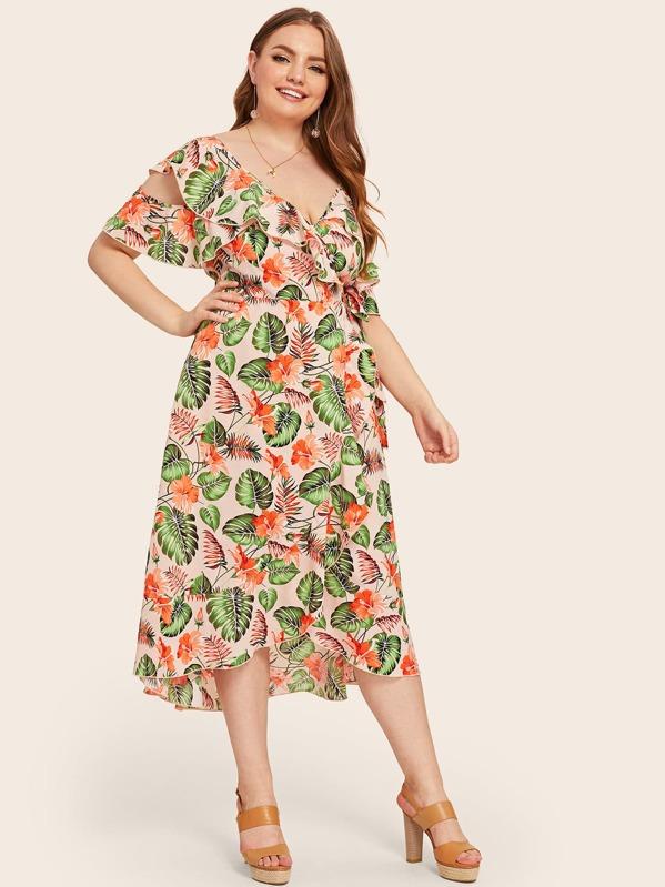 Plus Floral And Tropical Print Ruffle Trim Asymmetrical Neck Dress, Olga B