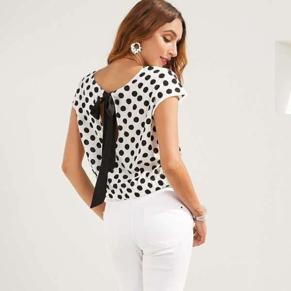 SBetro Polka-dot Twist Front Tie Back Top, Black and white