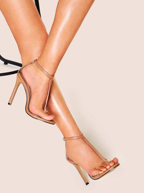 T-strap Stiletto Heels, null