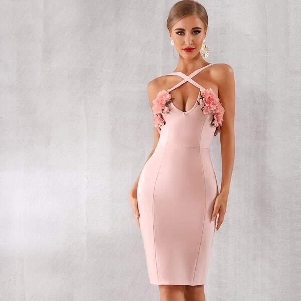 Adyce Appliques Detail Zip Back Bodycon Slip Dress, Pink pastel
