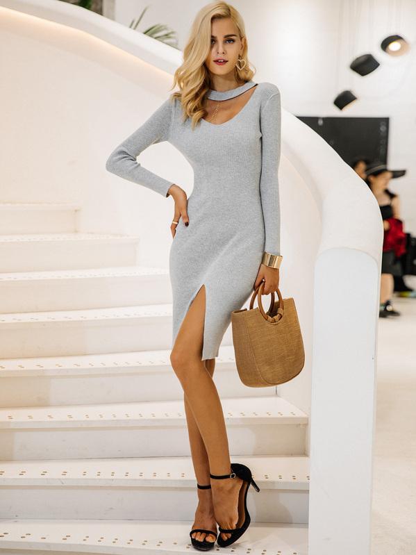 Simplee Choker Neck Split Hem Rib-knit Sweater Dress