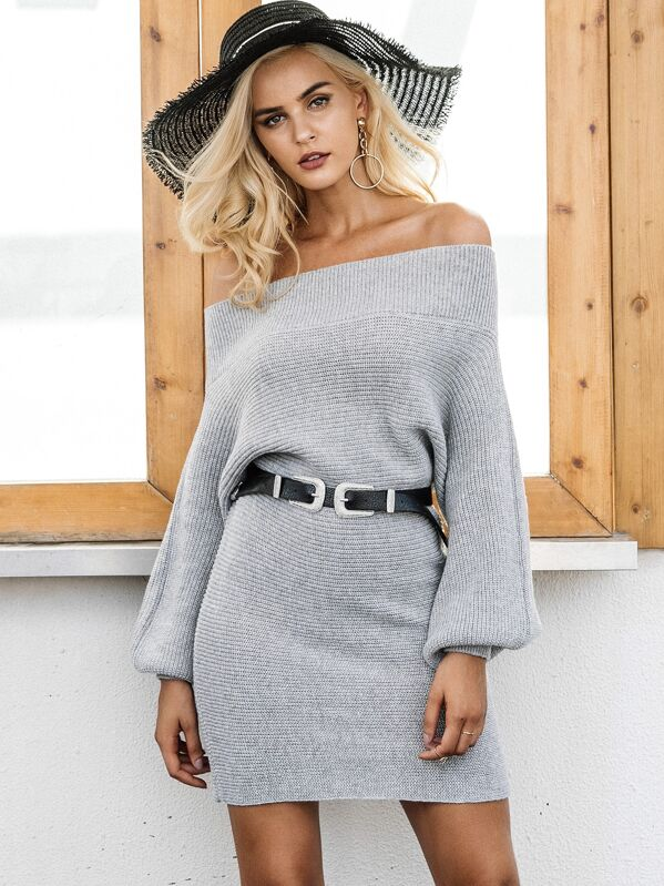 Simplee Bishop Sleeve Bardot Sweater Dress Without Belted