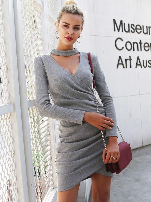 Simplee Asymmetrical Hem Choker Neck Wrap Sweater Dress