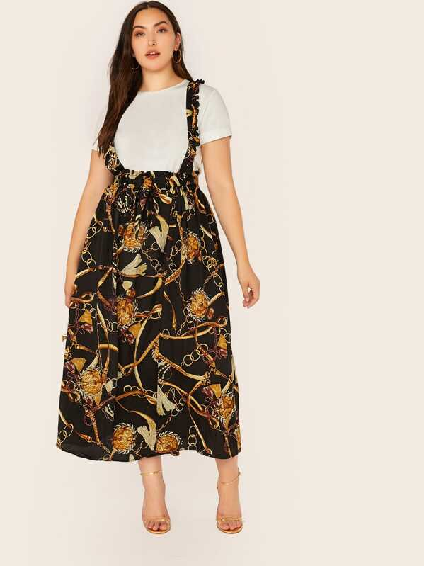 Plus Chain Print Paperbag Waist Pinafore Skirt, Yumi