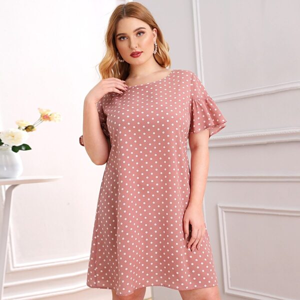 Plus Polka Dot Ruffle Hem Dress