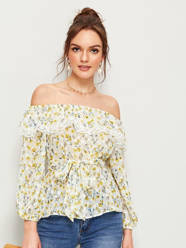 Floral Print Lace Trim Flounce Foldover Off Shoulder Top, Natalia