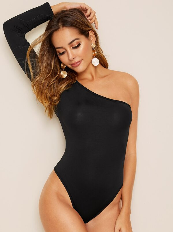 Solid One Shoulder Bodysuit, Giulia