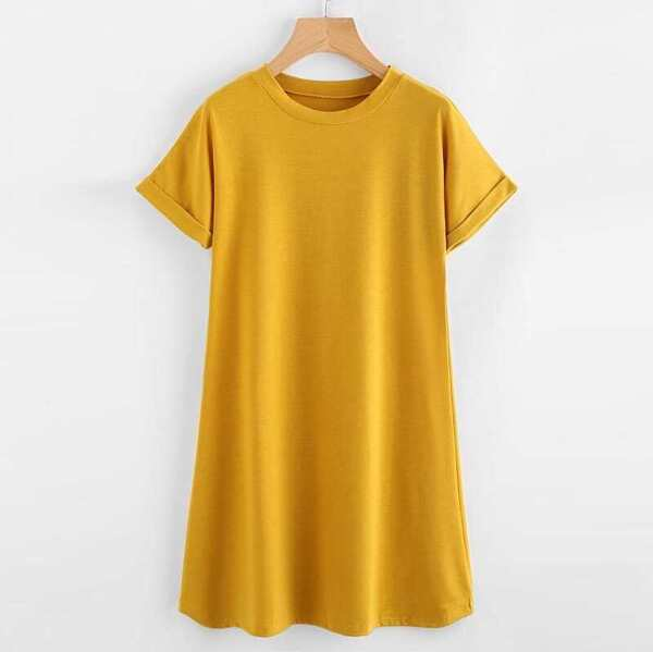 Plus Roll Up Sleeve Solid T-shirt Dress, Yellow