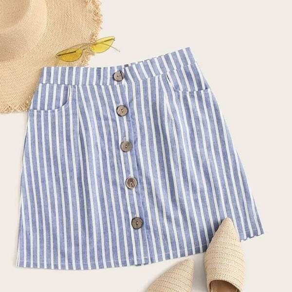 Plus Button Front Pocket Side Striped Skirt, Blue