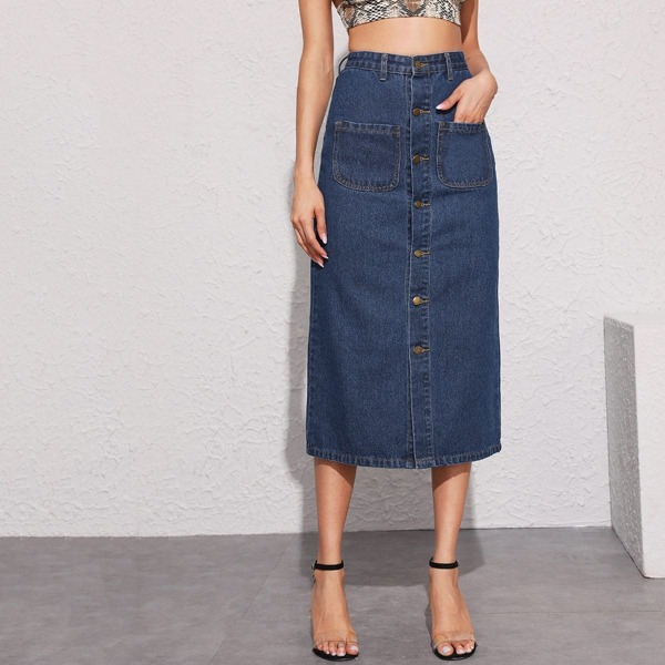 Dark Wash Topstitching Pocket Patched Denim Skirt, Navy