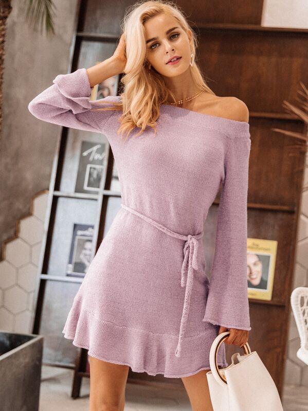 Simplee Off Shoulder Ruffle Hem Belted Sweater Dress