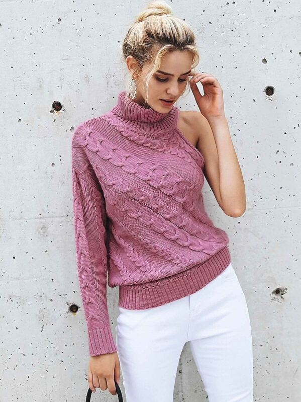 Simplee One Shoulder High Neck Cable Knit Sweater