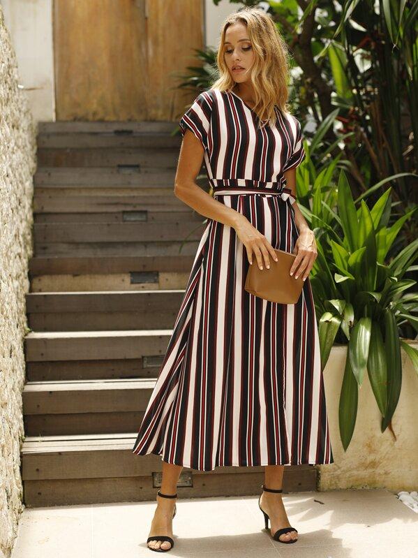Striped Self Tie Wrap Dress, Multicolor