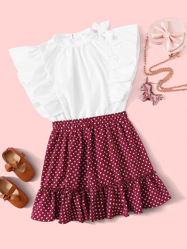 Girls Mock-neck Ruffle Armhole Top and Polka Dot Skirt Set