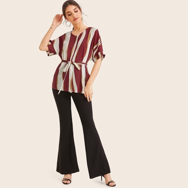 Batwing Sleeve Belted Top and Flare Leg Pants Set
