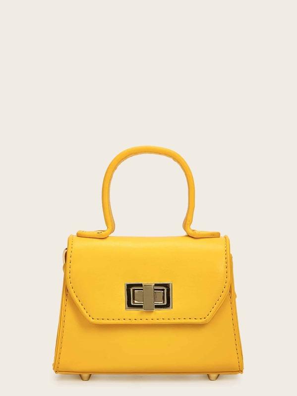 Twist Lock Satchel Chain Bag, Yellow