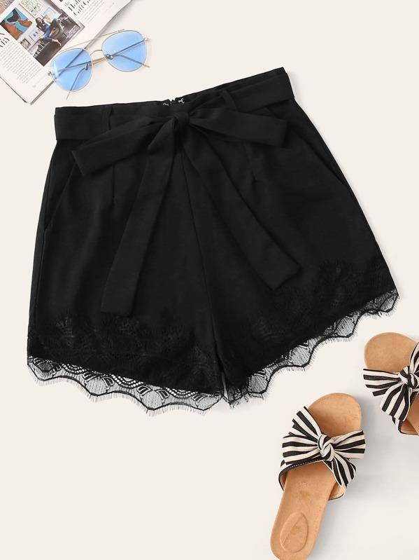 Eyelash Lace Hem Belted Shorts, Black