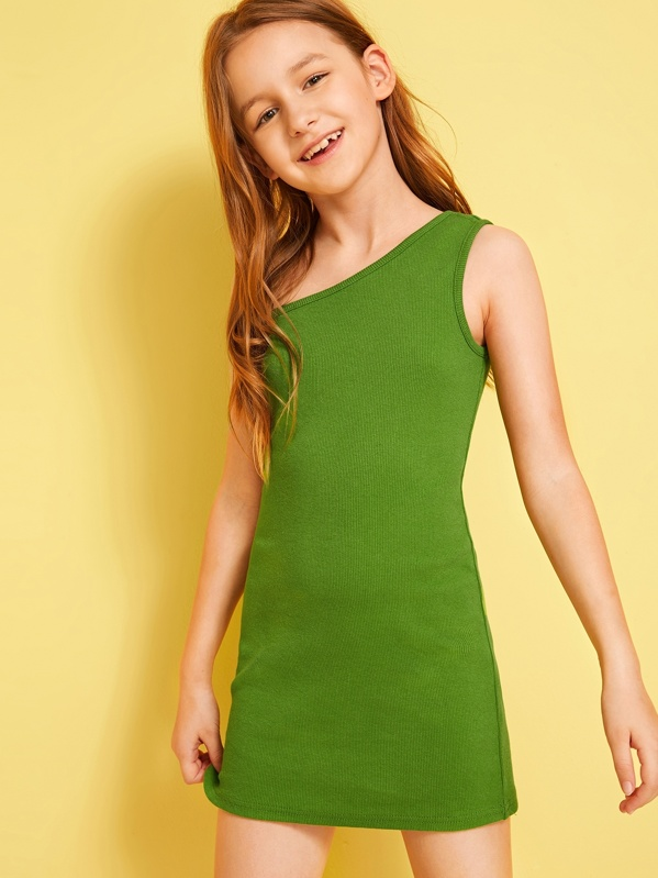 Girls One Shoulder Rib-knit Dress, Green, Sashab