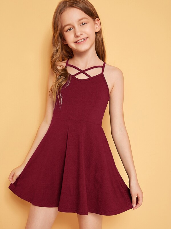 Girls Strappy Neck Fit and Flare Dress, Sashab