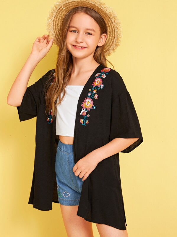 Girls Open Front Drop Shoulder Embroidery Detail Kimono, Sashab