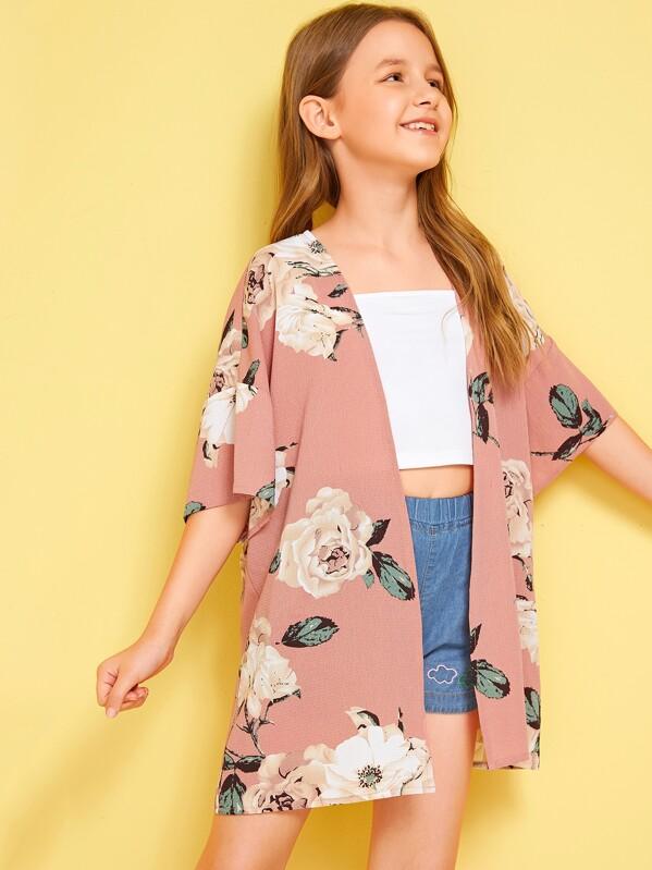 Girls Drop Shoulder Open Front Floral Print Kimono, Sashab