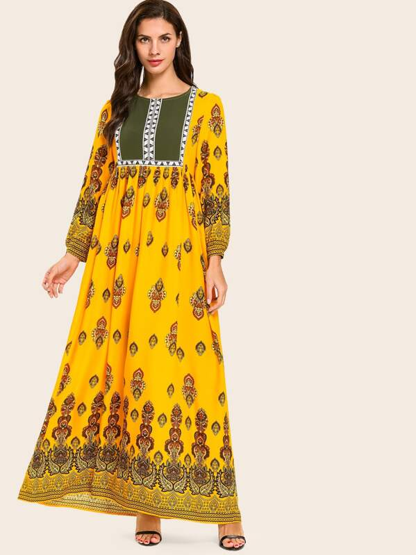 Tribal Print Plicated Longline Dress, Yellow