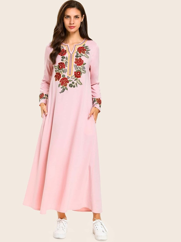 Flower Embroidered Notched Hidden Pocket Dress, null
