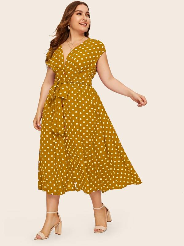 Plus Polka-dot Print Belted Tea Dress, Franziska