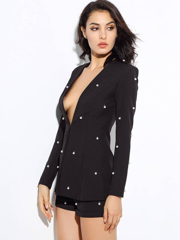 LOVE&LEMONADE Pearl Embellished Blazer & Cuffed Shorts Set, Black