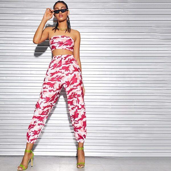 Camo Print Tube Top With Pants