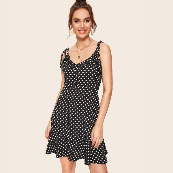 Polka Dot Button Front Ruffle Trim Cami Dress