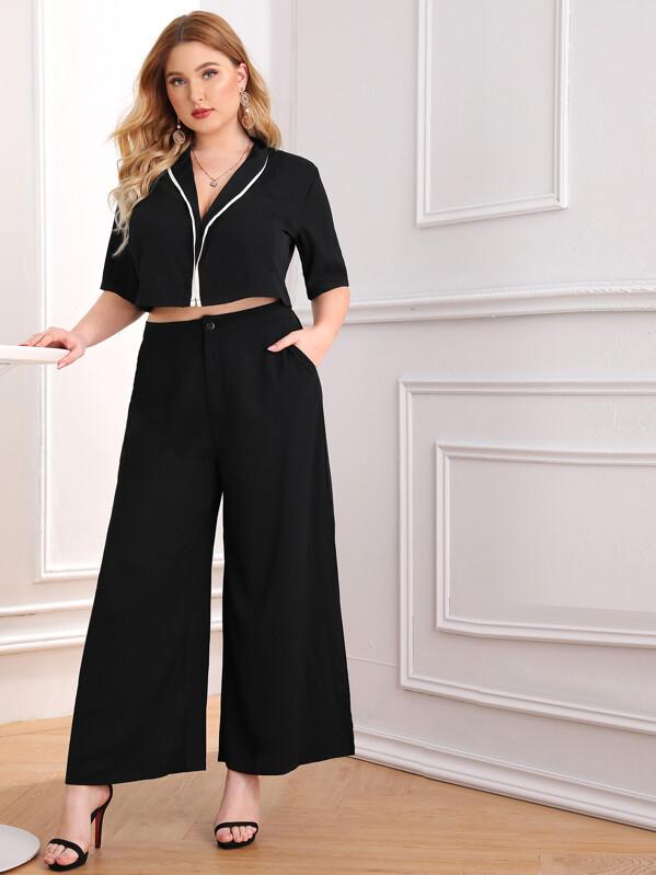 Plus Contrast Trim Shawl Collar Top & Wide Leg Pants Set, Nora