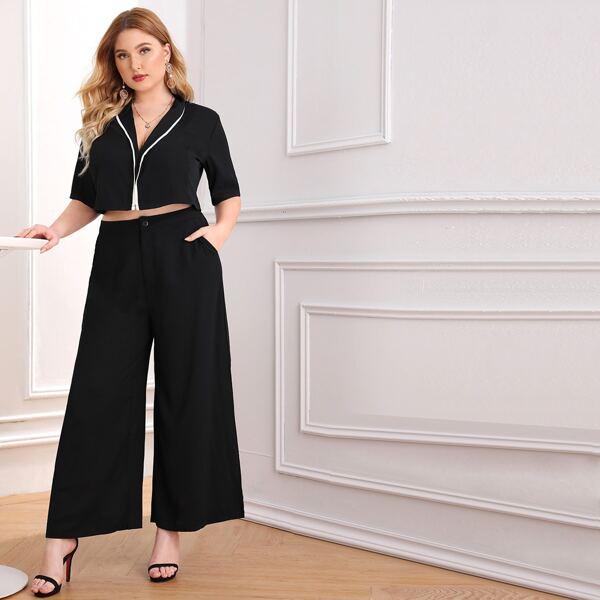 Plus Contrast Trim Shawl Collar Top & Wide Leg Pants Set