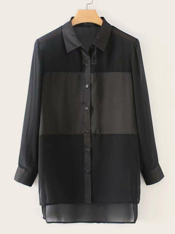 Деловая одежда Одноцветный Черный Блузы+рубашки, null