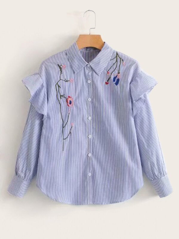 Повседневный Полосатый Синий Блузы+рубашки, null