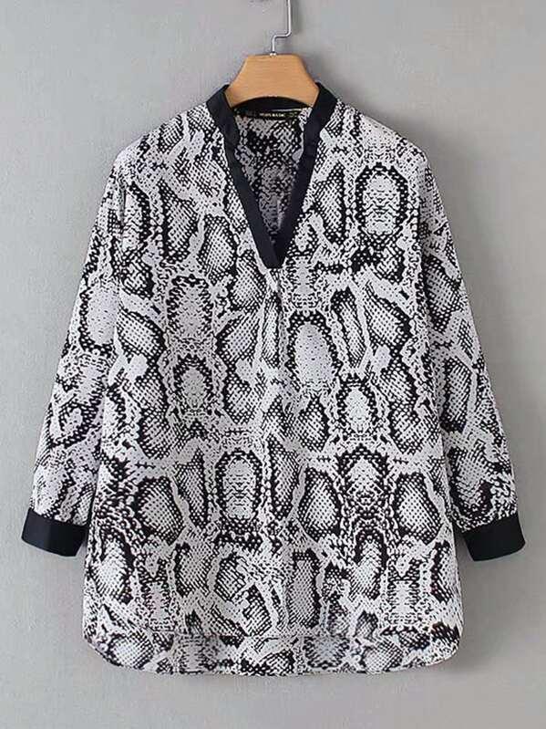 Повседневный Змеиный Многоцветный Блузы+рубашки, null