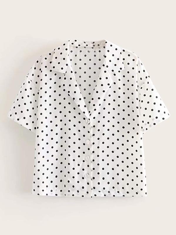 Повседневный В горошёк Чёрнобелые Блузы+рубашки, null