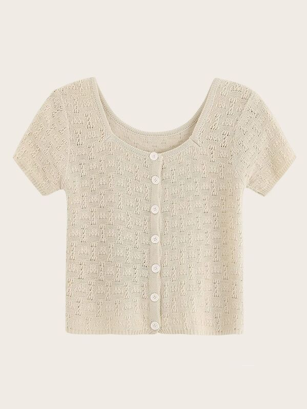 Button Front Square Neck Knit Top
