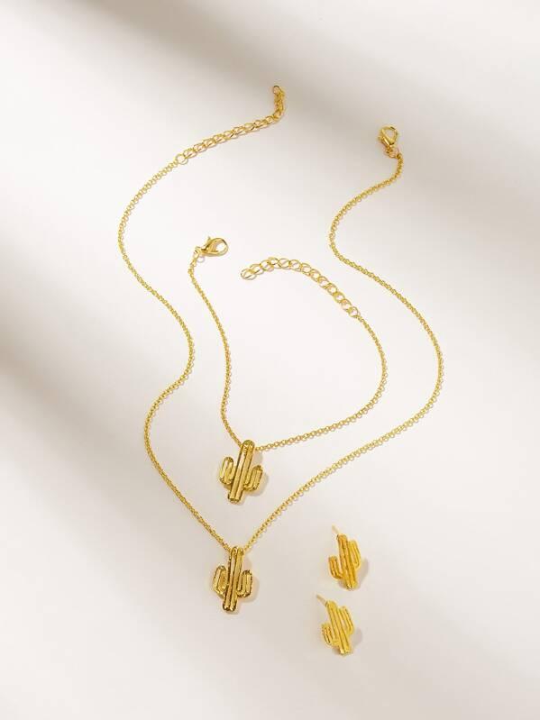 Girls Cactus Charm Chain Necklace & Bracelet & Earrings 4pcs, null