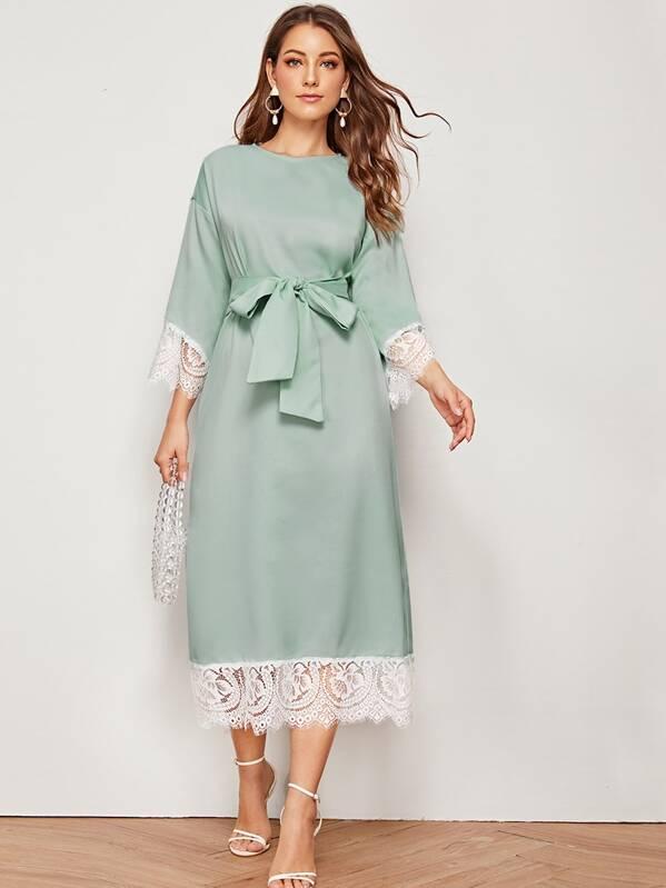 Contrast Lace Trim Belted Tunic Dress, Green, Debi Cruz